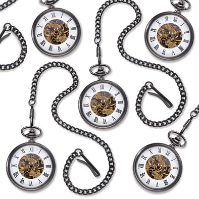Personalized Gunmetal Gray Exposed Gears Pocket Watch Set of 5-Executive Gifts-JDS-