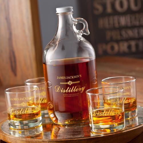 Personalized Growler - Whiskey - 4 Lowball Glasses - 64 oz.-Gold-