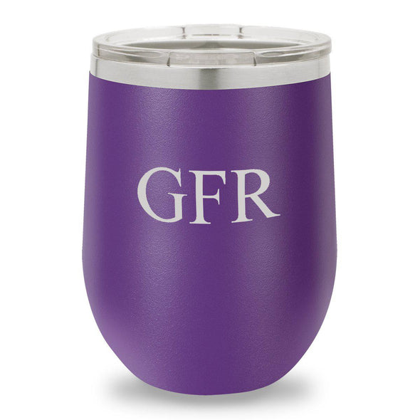 Personalized Bridesmaid Insulated Wine Tumbler 12 oz. - Purple-Barware-JDS-3Initials-