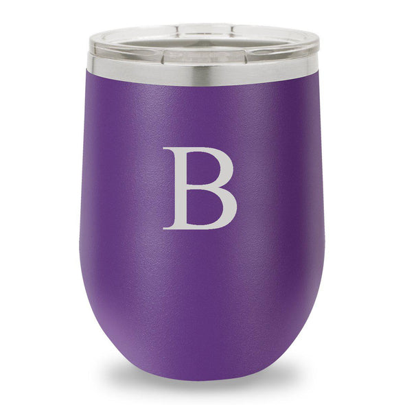 Personalized Bridesmaid Insulated Wine Tumbler 12 oz. - Purple-Barware-JDS-Initial-