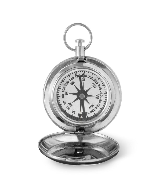 Personalized High Polish Silver Keepsake Compass with Wooden Box-Outdoors-JDS-