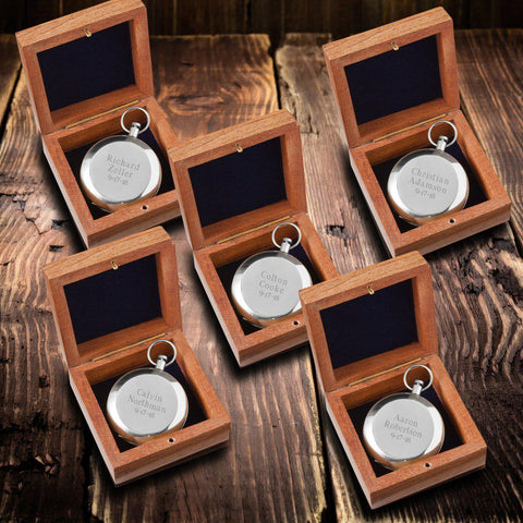 Personalized High Polish Silver Keepsake Compass with Wooden Box for Groomsmen - Set of 5-Groomsmen Gifts
