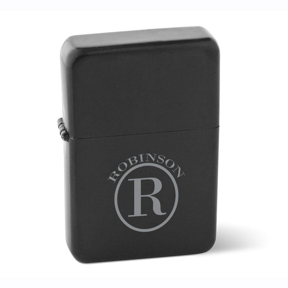Personalized Lighters - Black - Stainless Steel - Groomsmen Gifts-Circle-