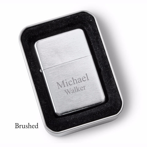 Personalized Lighters - Brushed Stainless Steel - Oil Lighter - Groomsmen Gifts-Groomsmen Gifts