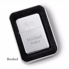 Personalized Lighters - Brushed Stainless Steel - Oil Lighter - Groomsmen Gifts-Brushed-