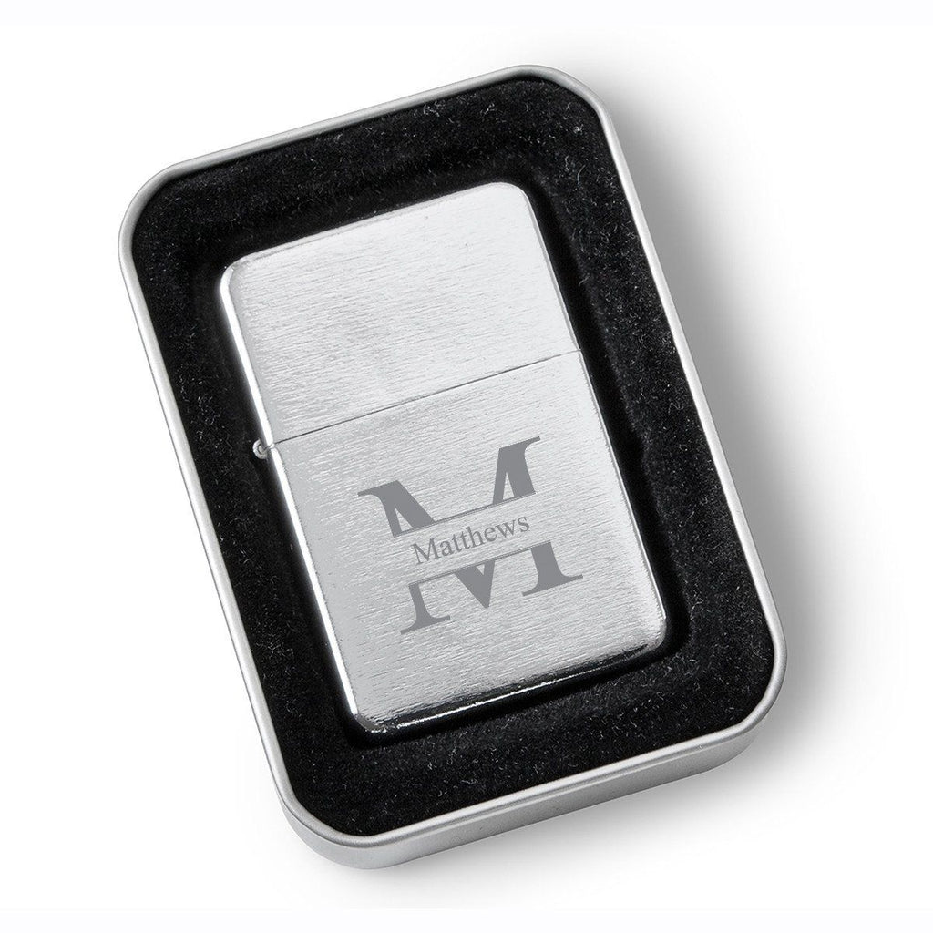 Personalized Groomsmen Brushed Stainless Steel Oil Lighter - Monogrammed Lighter