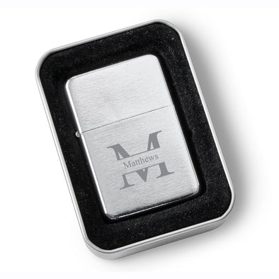 Personalized Groomsmen Brushed Stainless Steel Oil Lighter - Monogrammed Lighter-Stamped-