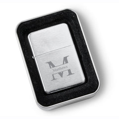 Personalized Brushed Stainless Steel Oil LIghter - Monogrammed Lighter-Groomsmen Gifts