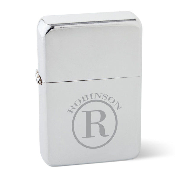 Personalized Chrome Stainless Steel Oil Lighter - Monogrammed Lighter-Circle-