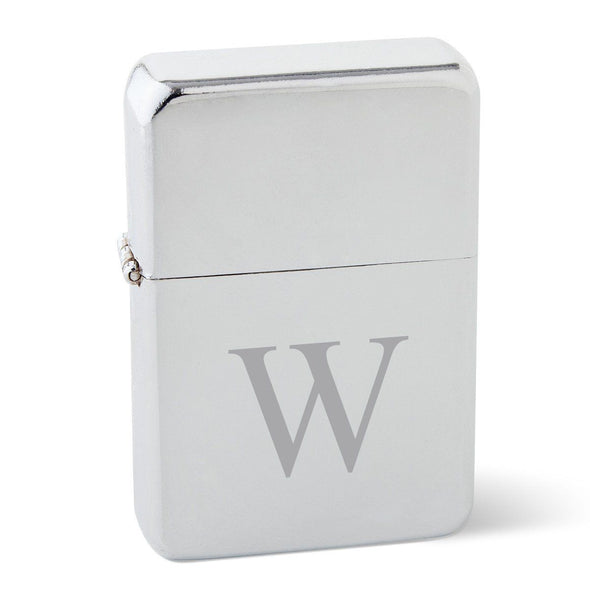 Personalized Chrome Stainless Steel Oil Lighter - Monogrammed Lighter-Single Initial-