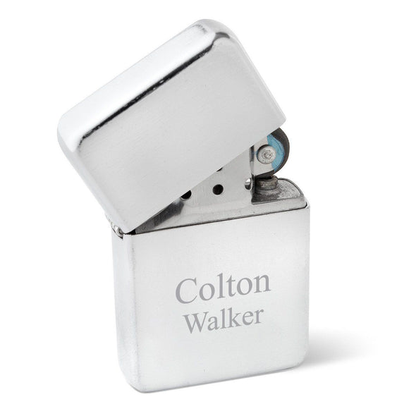 Personalized Lighters - Brushed Stainless Steel - Oil Lighter - Groomsmen Gifts-Chrome-