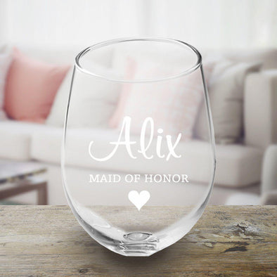 Personalized Bridal Party Stemless Wine Glass-MaidofHonor-