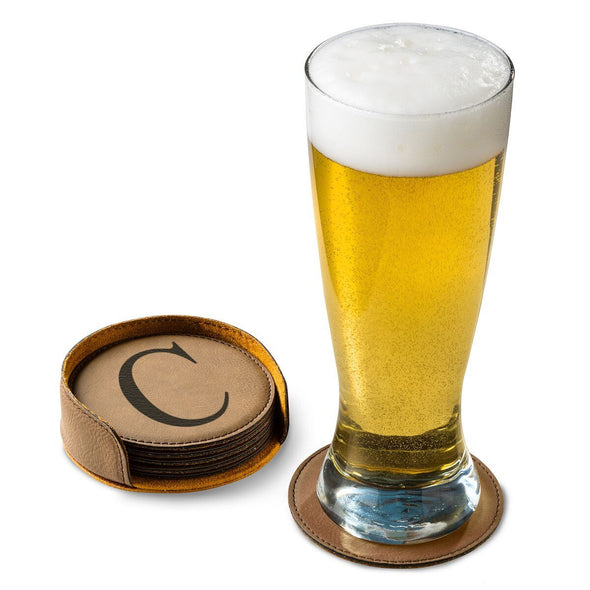 Personalized Dark Brown Round Leatherette Coaster Set-Default-