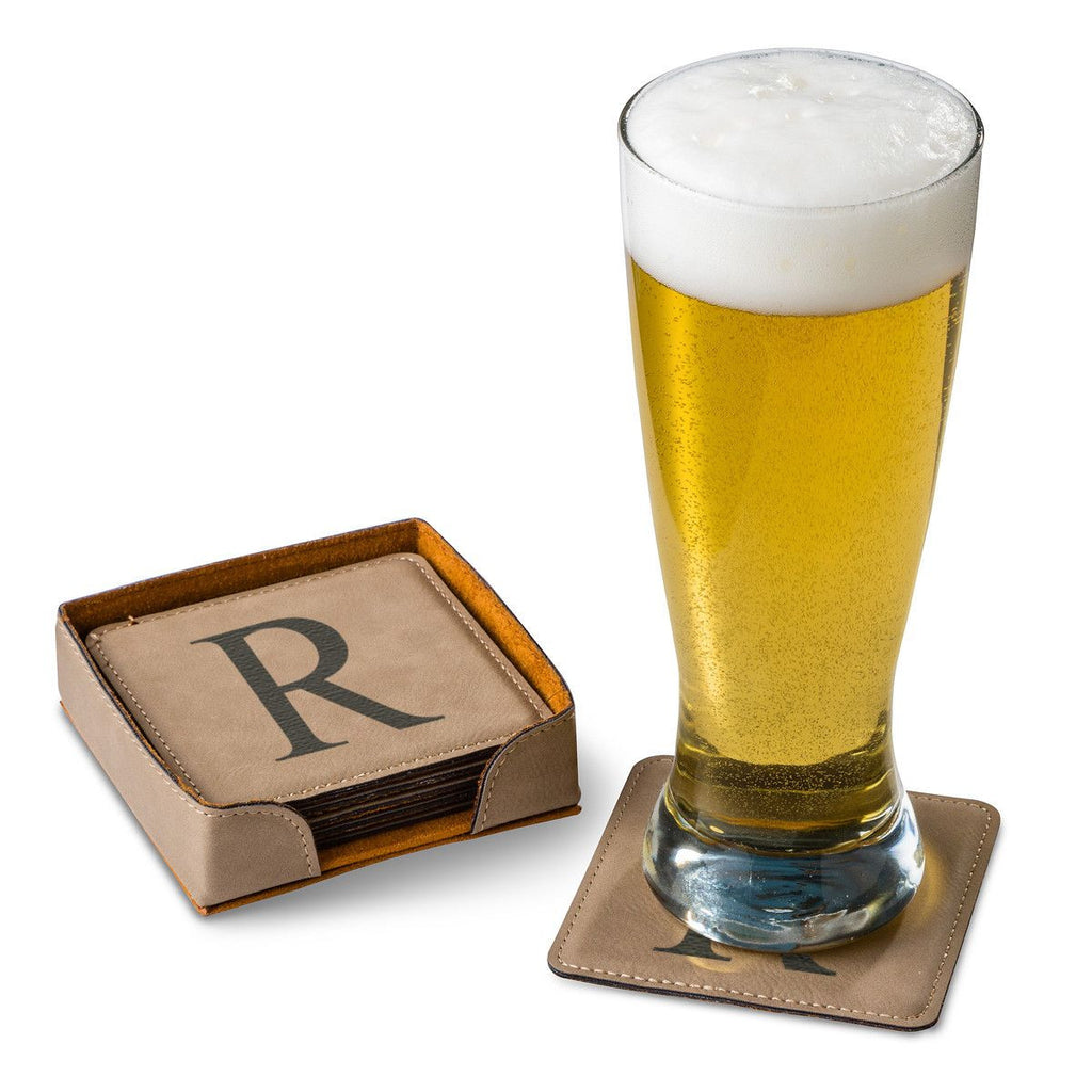 Personalized Tan Square Leatherette Coaster Set