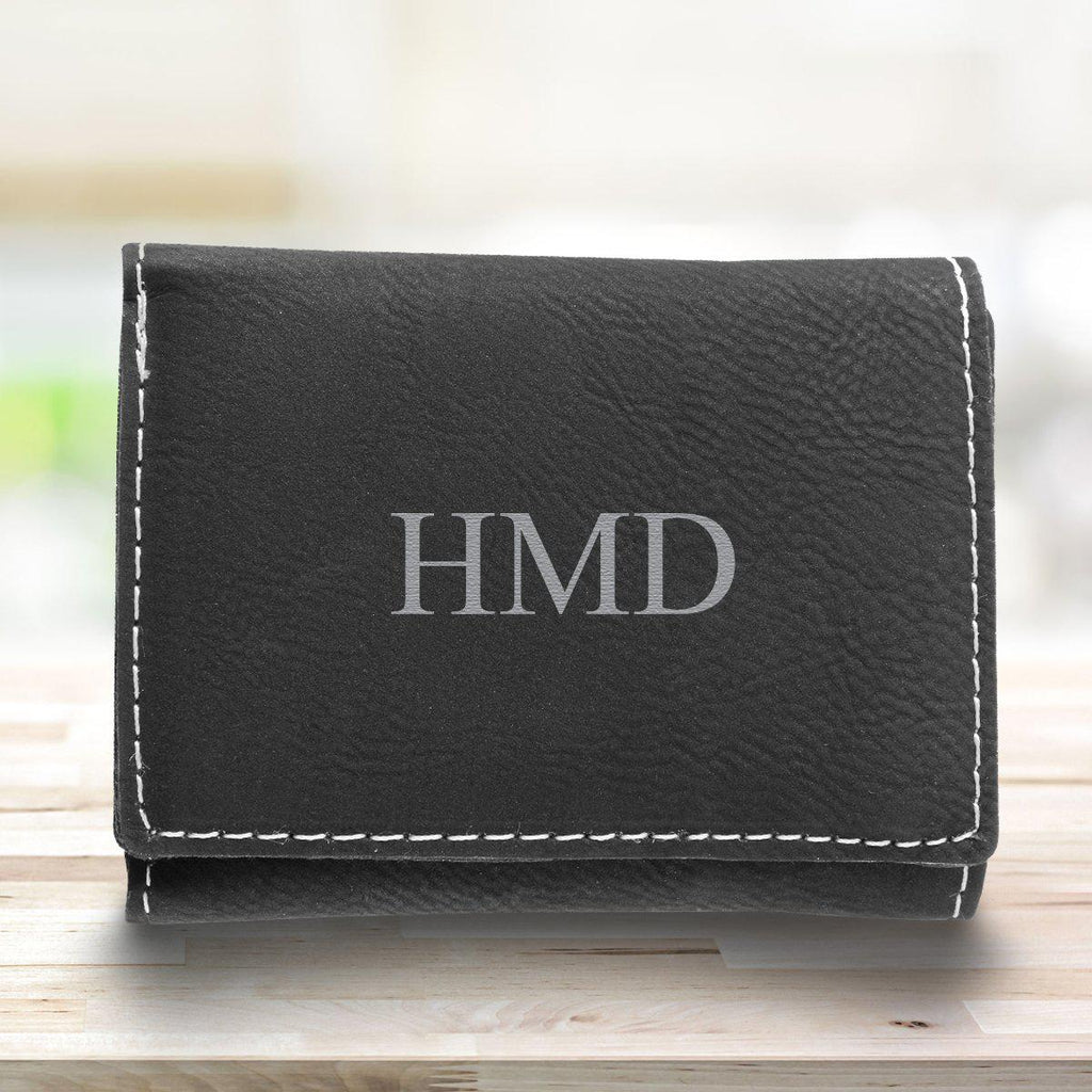 Leatherette Trifold Personalized Wallet for Men - Black