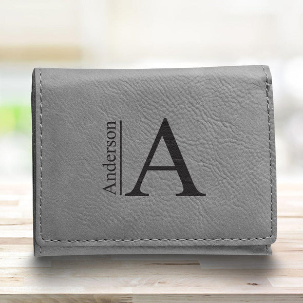 Leatherette Trifold Personalized Wallet for Men - Gray