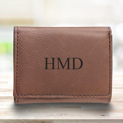 Leatherette Trifold Personalized Wallet for Men - Rustic Brown