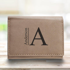Leatherette Trifold Personalized Wallet for Men - Tan