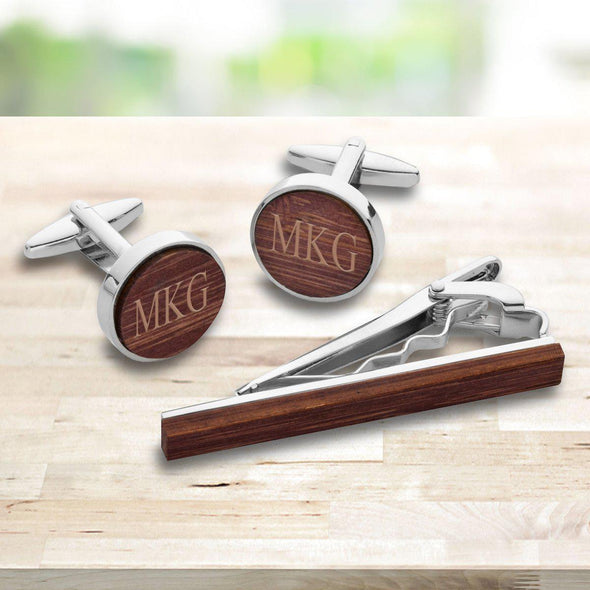 Personalized Walnut Cufflinks and Tie Clip Set