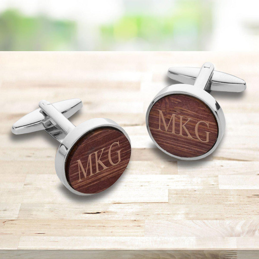 Personalized Wooden Walnut Cufflinks for Groomsmen