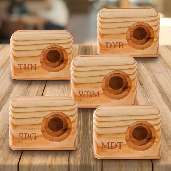 Personalized Set of 5 Wooden Speakers - Cell Phone Speaker - Groomsmen Gift-3Initials-