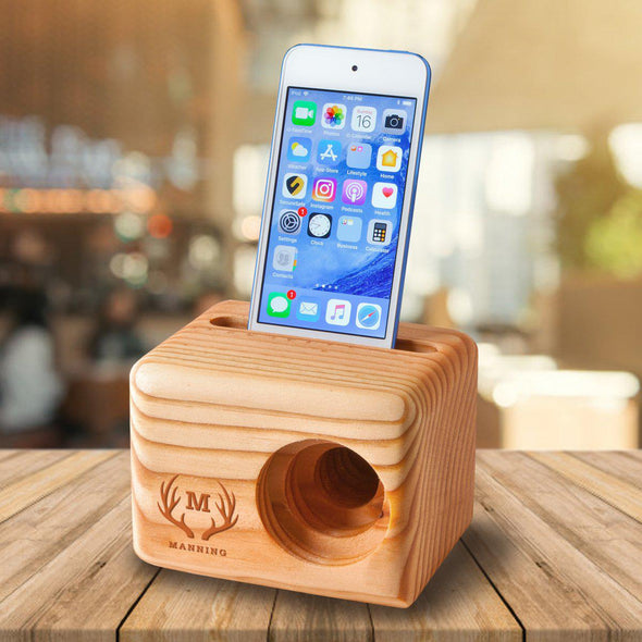 Personalized Set of 5 Wooden Speakers - Cell Phone Speaker - Groomsmen Gift-
