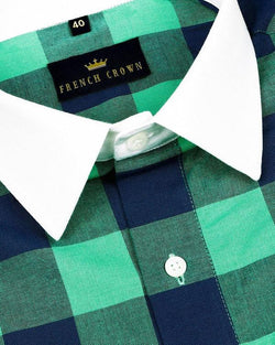 Green with Blue Checked Premium Cotton SHIRT