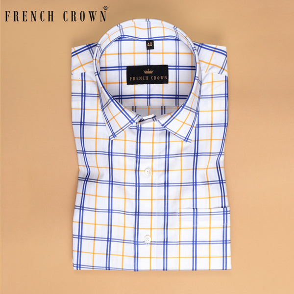 White Multi-Checked Premium Cotton SHIRT