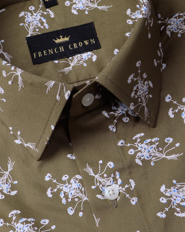 Olive Flower Printed Ultra Soft Cotton SHIRT