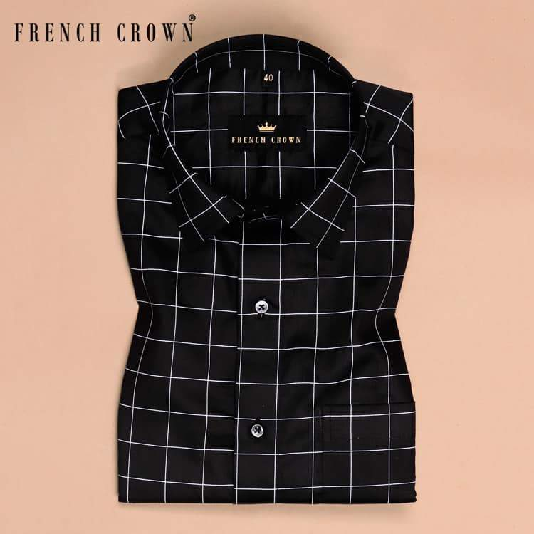 Black Windowpane Silky Soft Cotton Shirt
