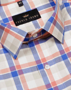 Cream Multi-Checked Premium Cotton SHIRT