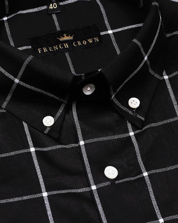 Classic Black Windowpane Premium Cotton Shirt