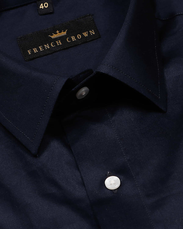 Navy Silky Soft Cotton Shirt