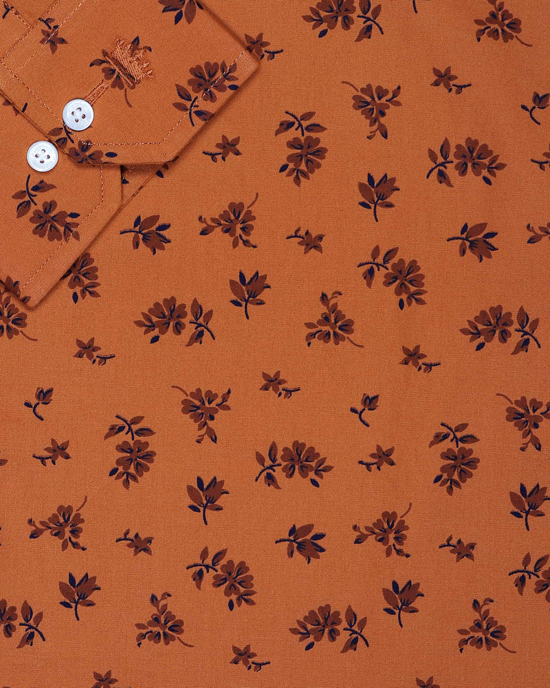 Rust Orange Printed Ultra Soft Cotton SHIRT