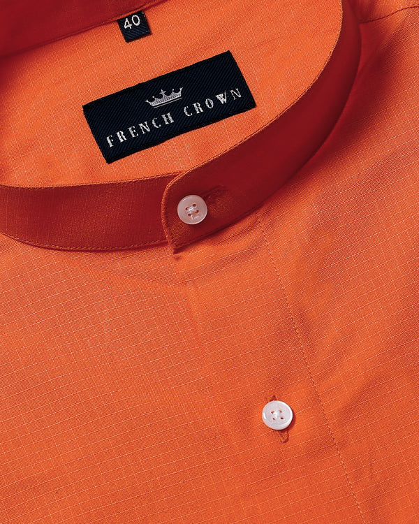 Bright Orange Textured Thick Oxford Shirt