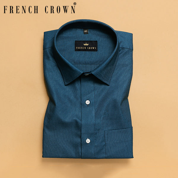 Peacock Blue Thick Oxford Shirt