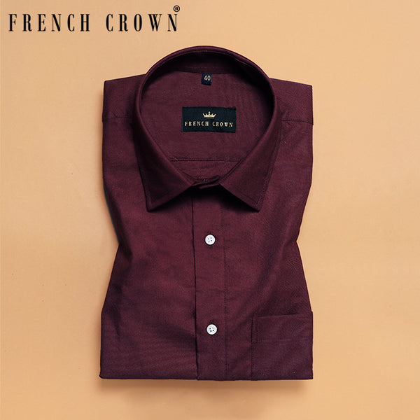 Maroon Thick Oxford Shirt