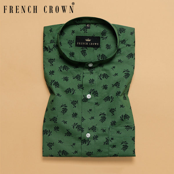 Forest Green Flower Printed Premium Cotton Shirt