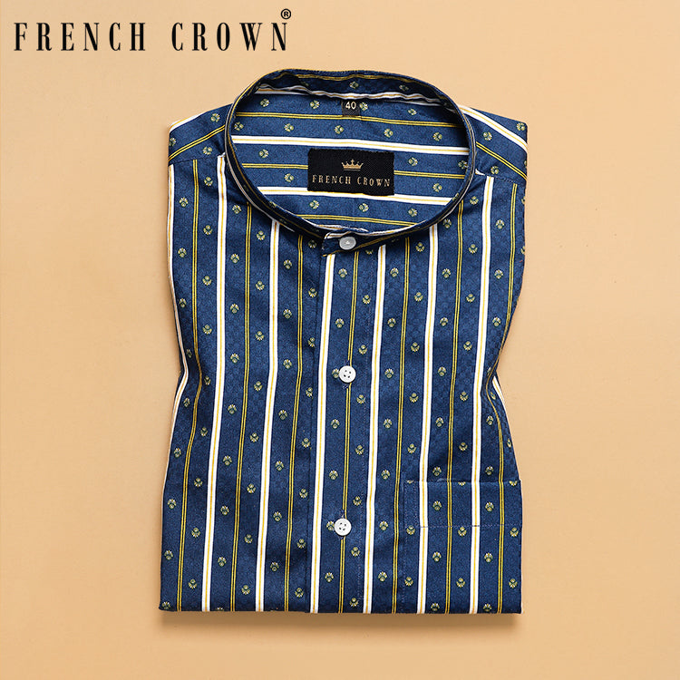 Greenish Blue Striped Premium Cotton Shirt