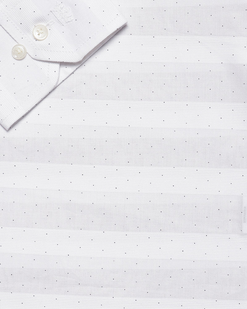 Bright White Dotted jacquard Striped Giza Cotton shirt