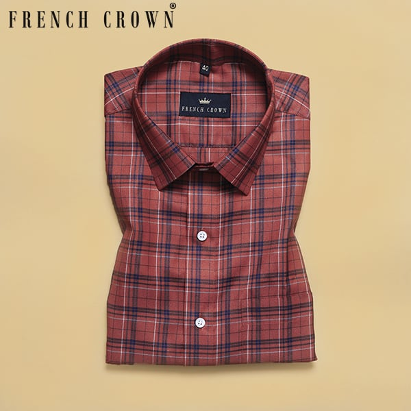 Rust Orange Tartan Premium Cotton SHIRT