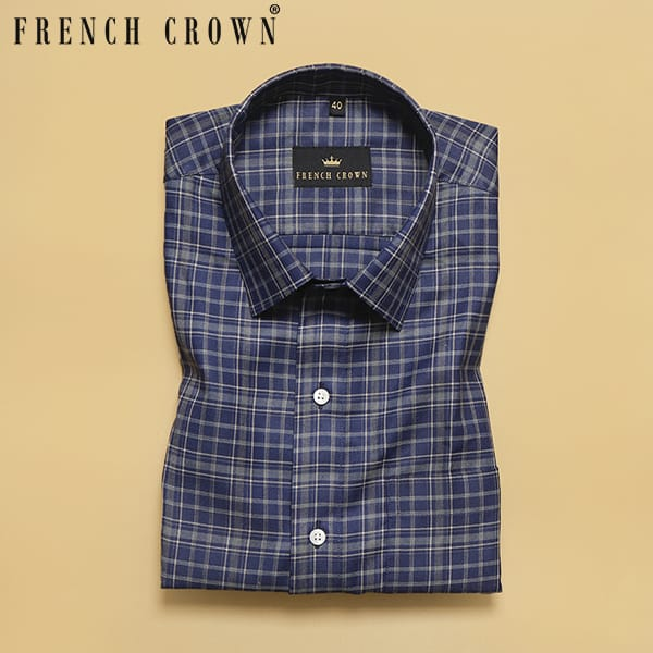 Blue with Brown Tartan Premium Cotton SHIRT