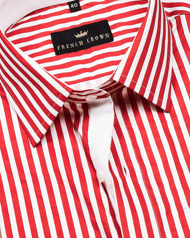 Red with White Stripes Printed Super Soft Giza Cotton SHIRT