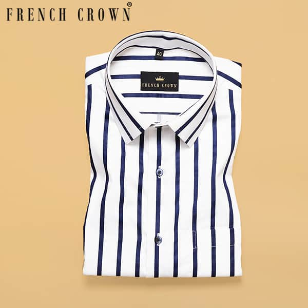White with Blue Stripes Printed Super Soft Giza Cotton SHIRT
