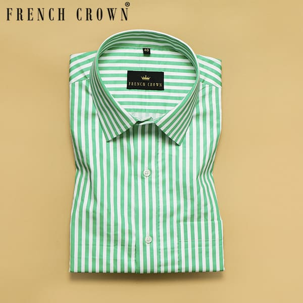 Green with White Stripes Printed Super Soft Giza Cotton SHIRT