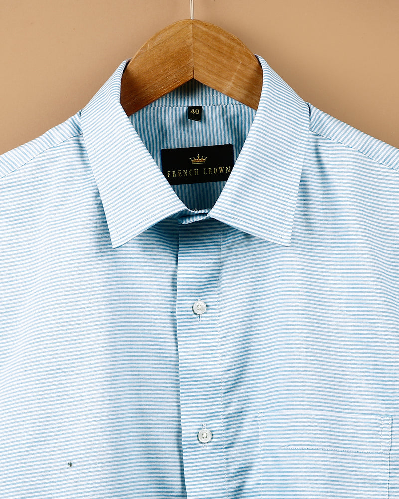 Sky horizontal striped Giza Cotton shirt