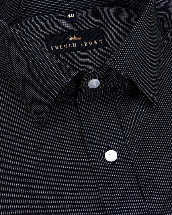 Black Micro Striped Premium Cotton Shirt
