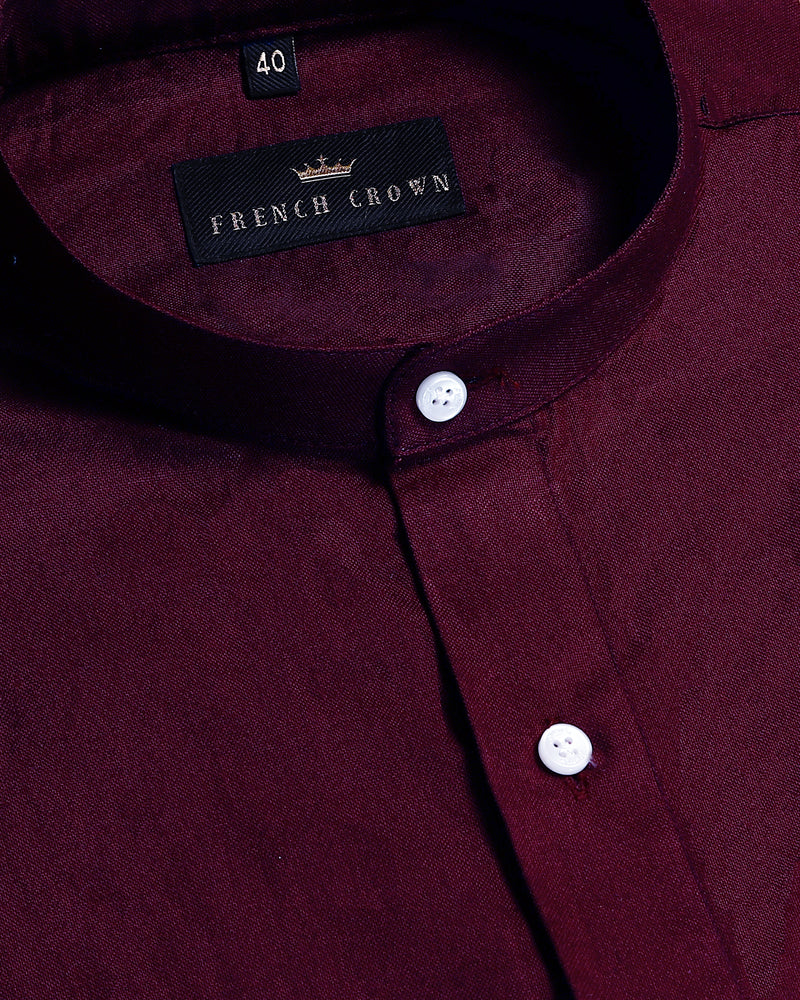 Maroon Mandarin Oxford Shirt