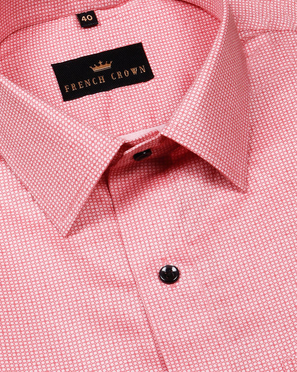 Peach Micro Circled Premium Cotton Shirt