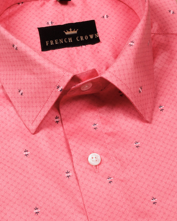 Peach Printed Premium Cotton Shirt